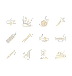 Woodwind music instruments flat line icons vector image