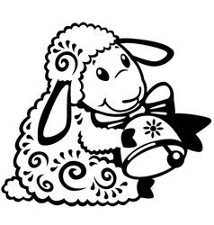 cartoon sheep black white vector image