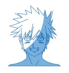 cartoon young guy anime boy character japanese vector image
