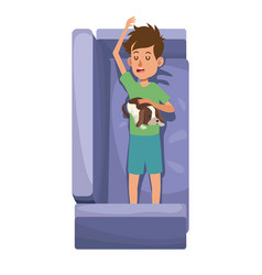 Character boy resting sofa with her doggy pet vector