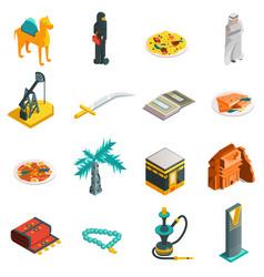 Saudi arabia isometric touristic icons set vector