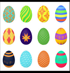 the ornamental colorful easter eggs variety vector image
