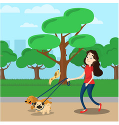 woman walking with two dog vector image