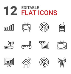 12 antenna icons vector image