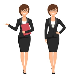 a young cartoon style smiling businesswoman vector image