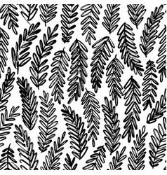acacia leaves hand drawn seamless pattern vector image