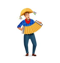 accordion player festa junina brazil june festival vector image