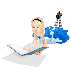 alice reading a book vector image