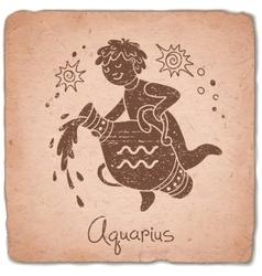 Aquarius zodiac sign horoscope vintage card vector