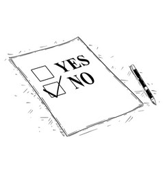 Artistic drawing of yes and no questionnaire form vector