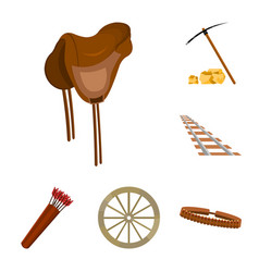 Attributes of the wild west cartoon icons in set vector