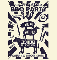 Bbq party craft paper posterbbq party poster vector