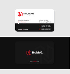 black business card with red letter n and flash vector image