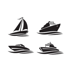 Black ships icons vector