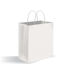 Blank flat bottom takeout bag with twisted handles vector