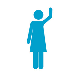 Blue silhouette of pictogram woman with left arm vector
