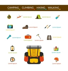Camping and hiking icons set vector