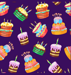 cartoon color cakes background pattern vector image