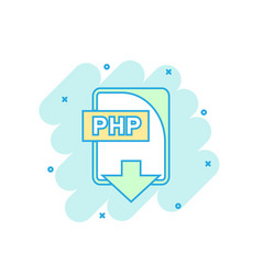 Cartoon colored php file icon in comic style php vector
