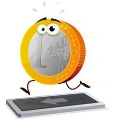 Cartoon euro running on a treadmill vector
