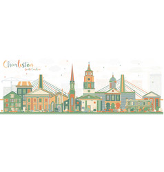 Charleston south carolina skyline with color vector