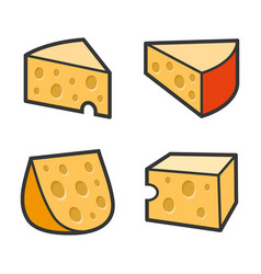 cheese icon set on white background vector image