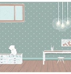 Children room dark with bulbs background design vector