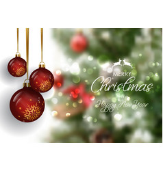 christmas bauble background with defocussed vector image