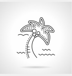 coconut palm flat line icon vector image