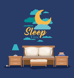 Color poster scene night landscape of bedroom vector