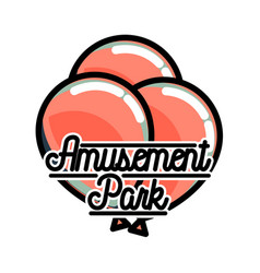 color vintage amusement park emblem vector image