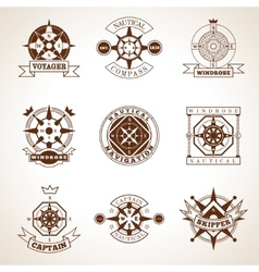 Compass Label Set vector