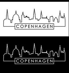 copenhagen skyline linear style editable file vector image