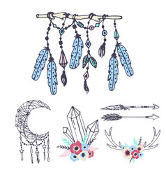 Creative boho style frames mady ethnic feathers vector