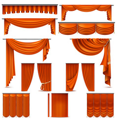 Curtains and draperies interior decoration object vector