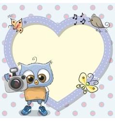 Cute cartoon Owl with a camera vector
