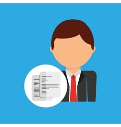 document business man suit worker icon vector image