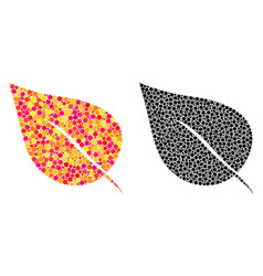 Dotted plant leaf mosaic icons vector
