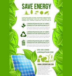 Energy and ecology conservation poster vector