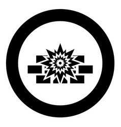 explosion brick wall icon in circle round black vector image