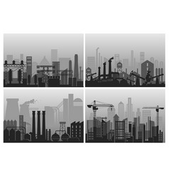 factories and plants industrial landscapes vector image