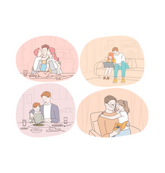 Family care fatherhood childhood reading vector