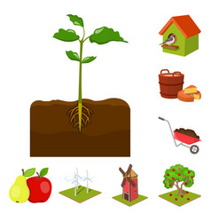 Farm and agriculture cartoon icons in set vector