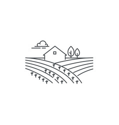 farmhouse on the field line icon outline vector image