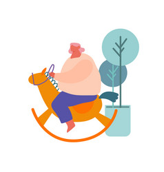 fat woman riding bawooden horse toy isolated on vector image