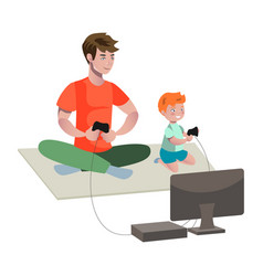 father and son playing video game vector image