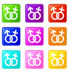 Gender symbol icons 9 set vector