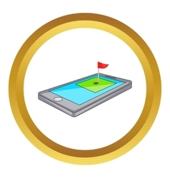 Golf course on phone icon vector
