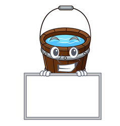 grinning with board wooden bucket character vector image