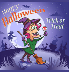halloween witch with a candy under the moon vector image
